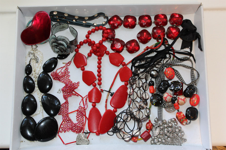Necklaces displayed on a White Tray